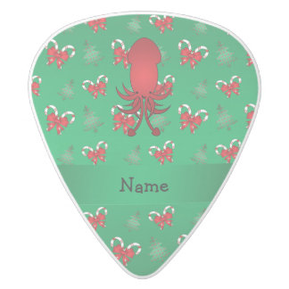 Personalized name squid green candy canes bows white delrin guitar pick