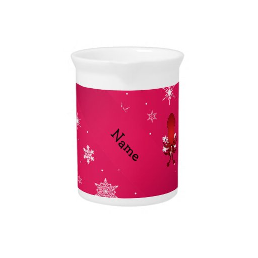Personalized name squid pink snowflakes beverage pitchers