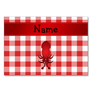 Personalized name squid red picnic checkers table cards