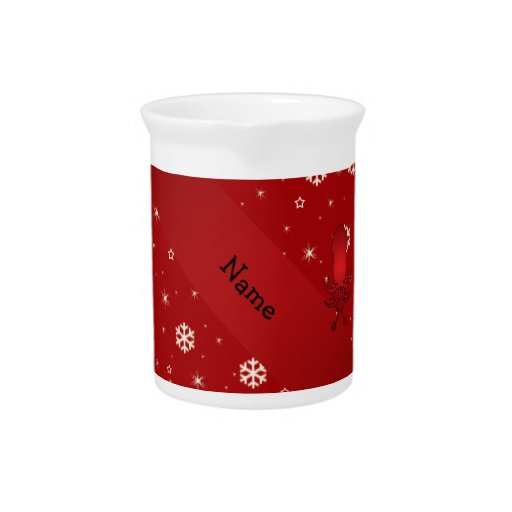Personalized name squid red snowflakes drink pitchers