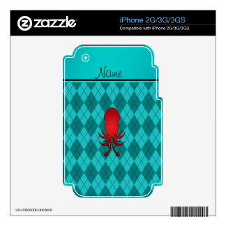 Personalized name squid turquoise argyle iPhone 2G skin