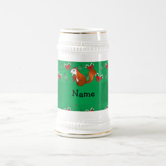 Personalized name squirrel green candy canes bows 18 oz beer stein
