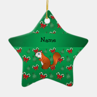 Personalized name squirrel green candy canes bows christmas ornament
