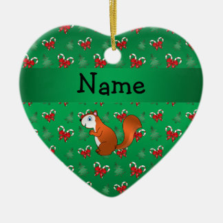 Personalized name squirrel green candy canes bows ornaments