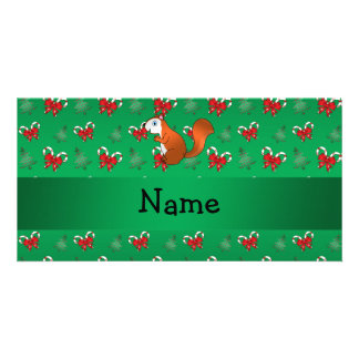 Personalized name squirrel green candy canes bows photo card template
