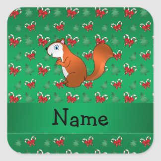 Personalized name squirrel green candy canes bows square sticker