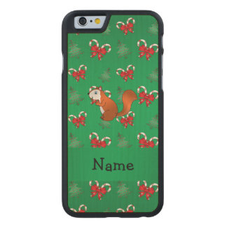 Personalized name squirrel green candy canes bows carved® maple iPhone 6 case