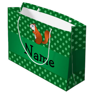 Personalized name squirrel green polka dots large gift bag