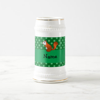 Personalized name squirrel green polka dots 18 oz beer stein