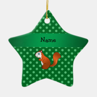 Personalized name squirrel green polka dots ornament