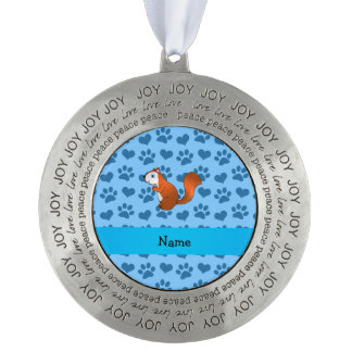 Personalized name squirrel pastel blue paws round pewter christmas ornament