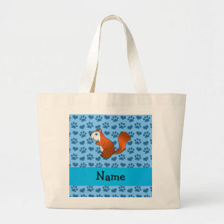 Personalized name squirrel pastel blue paws large tote bag