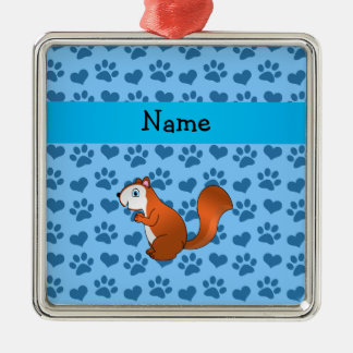 Personalized name squirrel pastel blue paws christmas tree ornament