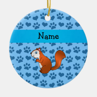 Personalized name squirrel pastel blue paws ornaments