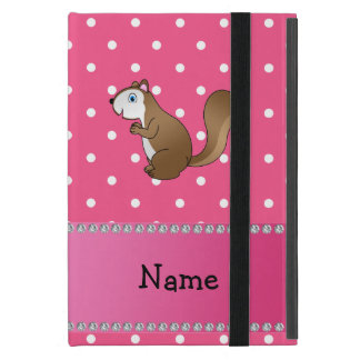 Personalized name squirrel pink polka dots pattern iPad mini case