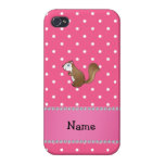 Personalized name squirrel pink polka dots pattern iPhone 4/4S cover