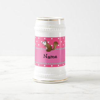 Personalized name squirrel pink polka dots pattern 18 oz beer stein