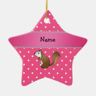 Personalized name squirrel pink polka dots pattern ornaments