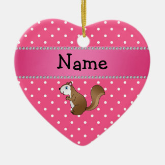 Personalized name squirrel pink polka dots pattern christmas ornament