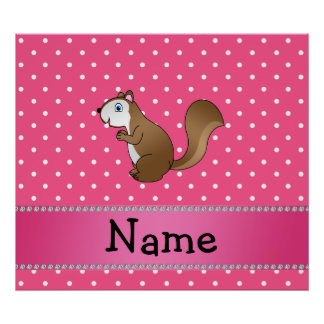 Personalized name squirrel pink polka dots pattern poster