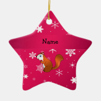 Personalized name squirrel pink snowflakes ornament