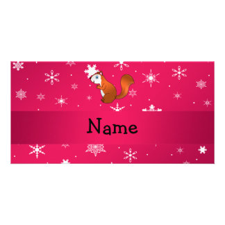 Personalized name squirrel pink snowflakes personalized photo card