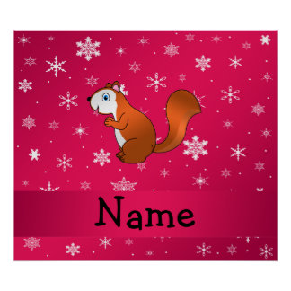Personalized name squirrel pink snowflakes poster