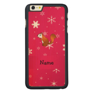 Personalized name squirrel pink snowflakes carved® maple iPhone 6 plus case