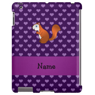 Personalized name squirrel purple hearts