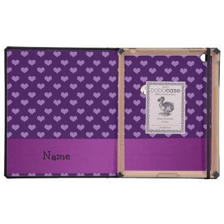 Personalized name squirrel purple hearts iPad cover