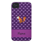 Personalized name squirrel purple hearts iPhone 4 cover