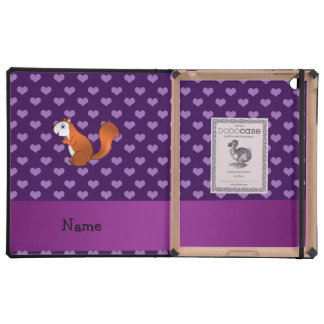 Personalized name squirrel purple hearts iPad cases