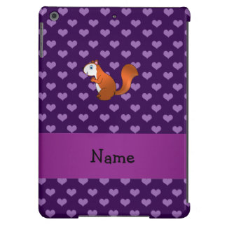 Personalized name squirrel purple hearts cover for iPad air