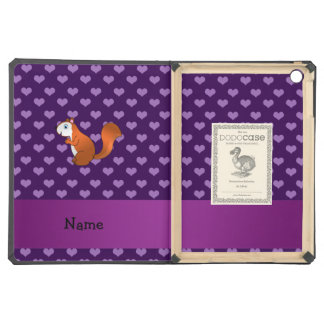Personalized name squirrel purple hearts iPad air covers