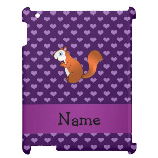 Personalized name squirrel purple hearts cover for the iPad