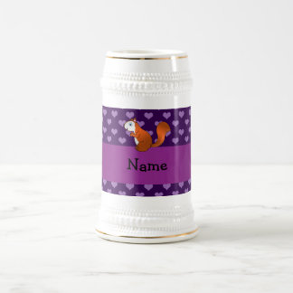 Personalized name squirrel purple hearts 18 oz beer stein