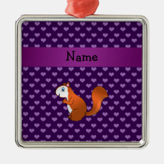 Personalized name squirrel purple hearts ornaments