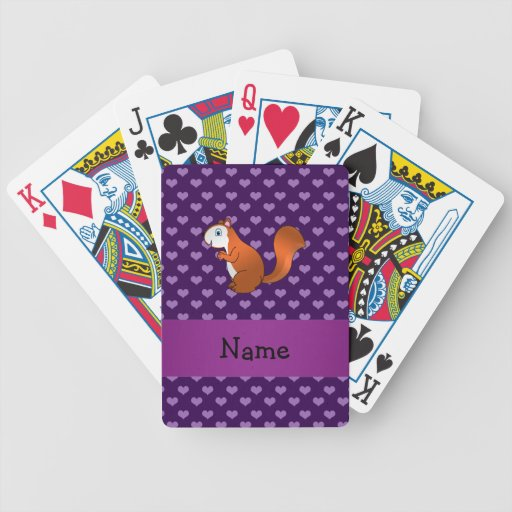 Personalized name squirrel purple hearts playing cards