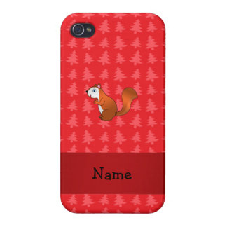 Personalized name squirrel red christmas trees covers for iPhone 4