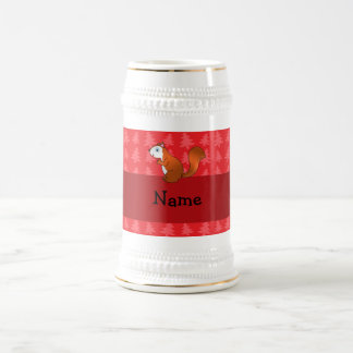 Personalized name squirrel red christmas trees 18 oz beer stein
