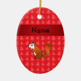 Personalized name squirrel red christmas trees christmas tree ornaments