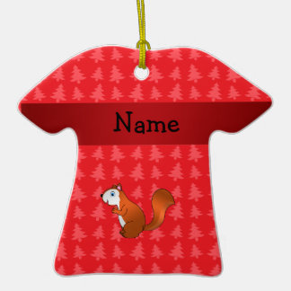 Personalized name squirrel red christmas trees ornaments