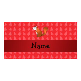 Personalized name squirrel red christmas trees custom photo card