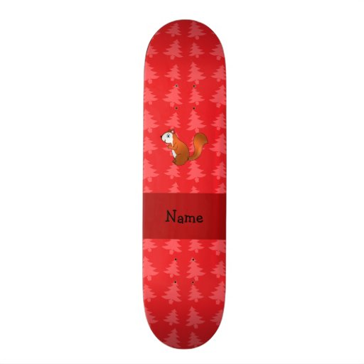 Personalized name squirrel red christmas trees skateboard deck