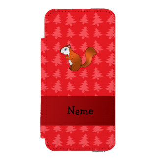 Personalized name squirrel red christmas trees incipio watson™ iPhone 5 wallet case