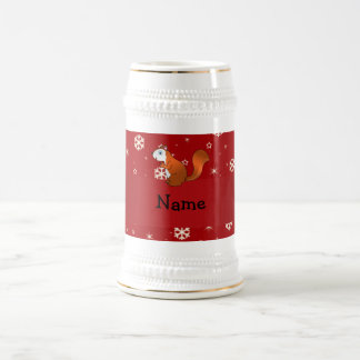Personalized name squirrel red snowflakes 18 oz beer stein