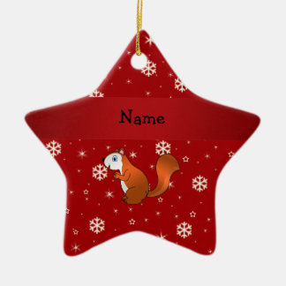 Personalized name squirrel red snowflakes christmas ornaments