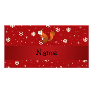 Personalized name squirrel red snowflakes photo greeting card
