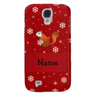 Personalized name squirrel red snowflakes samsung galaxy s4 cover