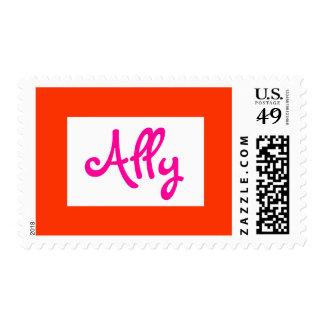 personalized name stamp hot pink and orange